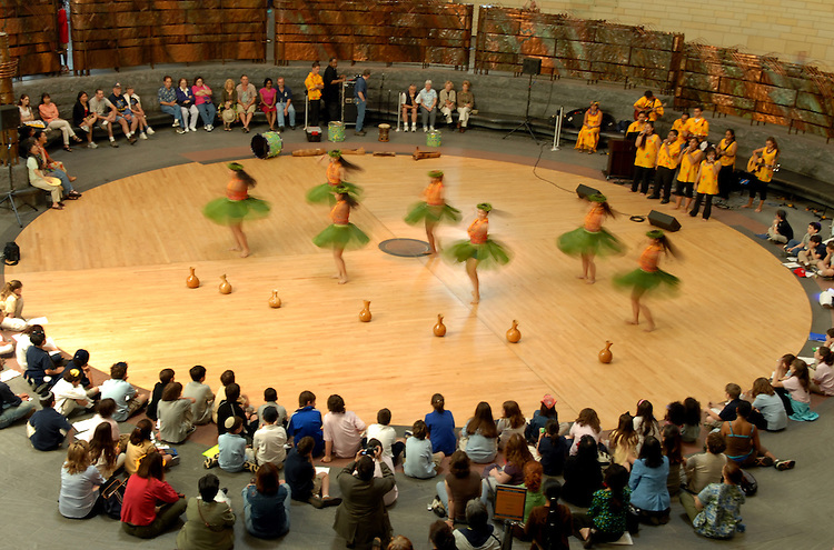 Na Pau Mae'ole, a musical and dance ensemble from Pahoa High and Intermediate School in Hawaii, perform at National Museum of the American Indian, Thursday.