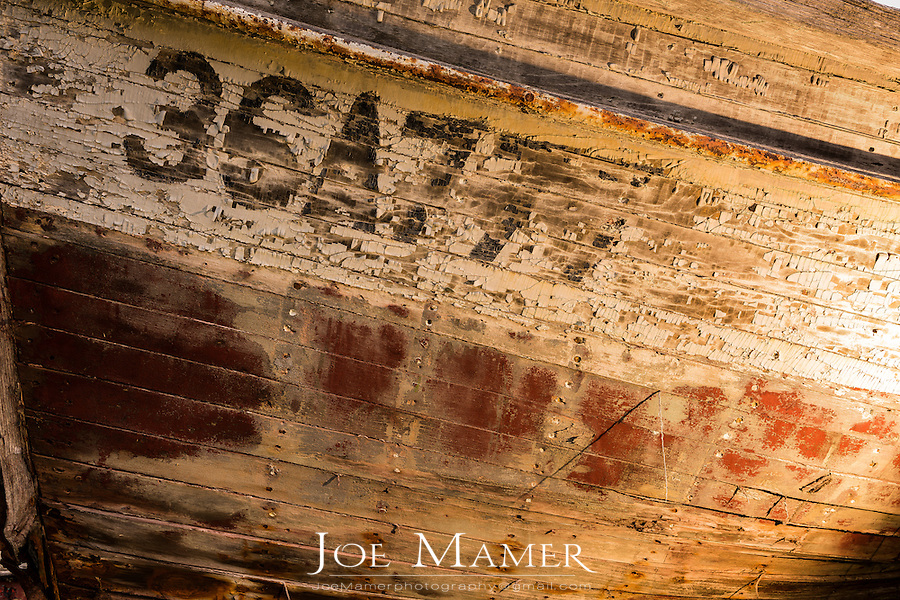 Old fishing boat detail on the shore of Lake Superior.