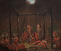 The Cutting Scene, Mandan O-Kee-pa Ceremony, painting, oil on canvas, 1832, by George Catlin, 1796-1872, in the Denver Art Museum, Denver, Colorado, USA. The young Mandan Indians were willing participants in the O-Kee-pa, a sacred ceremony held to ensure their community's prosperity. The men were suspended by splints inserted into their chest and back muscles (a procedure that, although painful, didn't cause lasting injury). These men would have considered it a great honour to take part in the O-Kee-pa, at the end of which they were recognized as warriors of courage and fortitude. Picture by Manuel Cohen