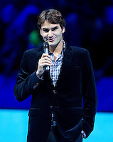 Roger Federer receives ATP awards for 2011..ATP World Tour Finals Day 2, 21.11.2011, 21st November, 2011. 02, London. UK..@AMN IMAGES, Frey, Advantage Media Network, Level 1, Barry House, 20-22 Worple Road, London, SW19 4DH.Tel - +44 208 947 0100.email - mfrey@advantagemedianet.com.www.amnimages.photoshelter.com.