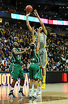 03 APR 2012: Brittney Griner (42) of Baylor University shoots over Skylar Diggins (4) of the University of Notre Dame during the Division I Women's Basketball Championship held at the Pepsi Center in Denver, CO. Stephen Nowland/NCAA Photos