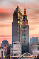 The Terminal Tower and Key Tower dominate the skyline of Cleveland, Ohio under a colorful sky just before sunrise.  The Terminal Tower was the 4th tallest building in the world when built in 1930 and remained the tallest in Cleveland until the completion of the Key Tower (then Society Tower) in 1991.