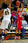 4 January 2010: University of Nebraska Cornhuskers' guard Nicole Neals, a Senior from Chandler, Arizona, in action against the University of Vermont Catamounts at Patrick Gymnasium in Burlington, Vermont. The Huskers, finishing off their first perfect non-conference season in school history, improved to 13-0 with the 94-50 win over the Lady Cats. Mandatory Credit: Ed Wolfstein Photo