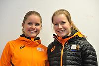 SCHAATSEN: HEERENVEEN: 29-01-14-2013, IJsstadion Thialf, Perslunch Schorttrack Olympische selectie, Sanne en Yara van Kerkhof, ©foto Martin de Jong