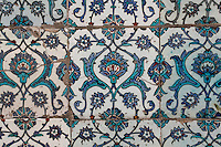 Detail of tiles, Eunochs' Courtyard (Harem), Topkapi Palace, 1459, Istanbul, Turkey. The Topkapi Palace, commissioned by Sultan Mehmed II, was the main residence of the Ottoman Sultans in Istanbul. The historical areas of the city were declared a UNESCO World Heritage Site in 1985. Picture by Manuel Cohen.