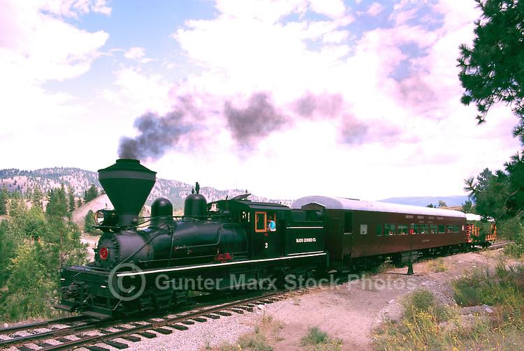 Restored 1924 Shay Steam Locomotive on Historic Kettle Valley Steam Railway, near Summerland, South Okanagan Valley, BC, British Columbia, Canada