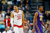 PITTSBURGH, PA - MARCH 19:  Kyle Washington #32 of the North Carolina State Wolfpack reacts in the second half against the LSU Tigers during the second round of the 2015 NCAA Men's Basketball Tournament at Consol Energy Center on March 19, 2015 in Pittsburgh, Pennsylvania.  (Photo by Jared Wickerham/Getty Images)