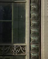 Tropical Rainforest Glasshouse (formerly Le Jardin d'Hiver or Winter Gardens), 1936, René Berger, Jardin des Plantes, Museum National d'Histoire Naturelle, Paris, France. Detail of the Facade showing classical style decoration around the main Art Deco style entrance.