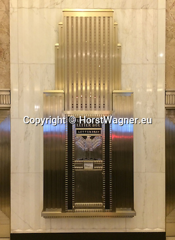 Chicago, Illinois, United States of America / USA; December 28, 2016 -- Inside The Field Building / LaSalle National Bank Building / Bank of America Building, art deco; La Salle Street; US Mail letter box, art deco -- Photo: © HorstWagner.eu