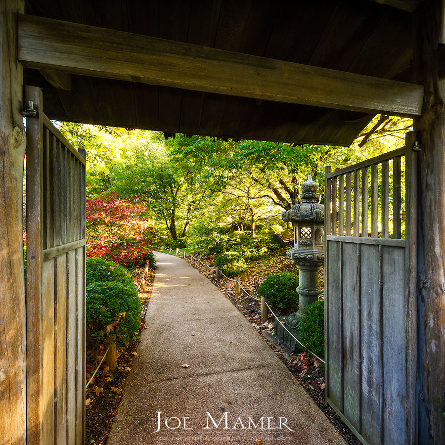 Walkway into the Japanese garden at the University of Minnesota Landscape Arboretum.