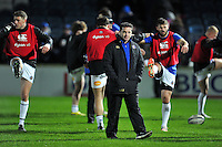 Bath Rugby Head Coach Mike Ford looks on during the pre-match warm-up. European Rugby Champions Cup match, between Leinster Rugby and Bath Rugby on January 16, 2016 at the RDS Arena in Dublin, Republic of Ireland. Photo by: Patrick Khachfe / Onside Images