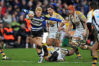Tom Homer of Bath Rugby takes on the Wasps defence. Aviva Premiership match, between Bath Rugby and Wasps on February 20, 2016 at the Recreation Ground in Bath, England. Photo by: Patrick Khachfe / Onside Images