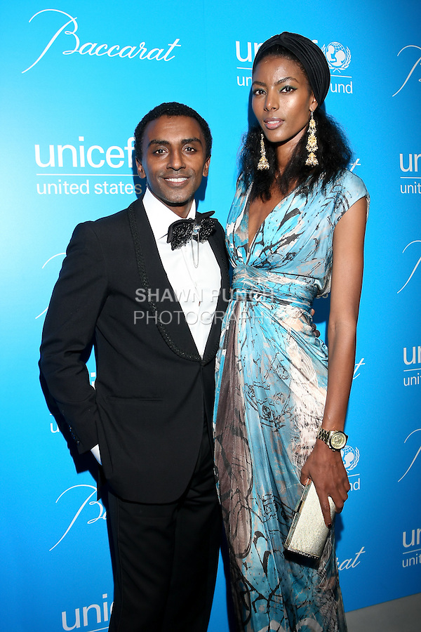 Chef Marcus Samuelsson and Maya Samuelsson arrive at the UNICEF Snowflake Ball, Presented by Baccarat, at Cipriani 42nd Street, November 30, 2010.