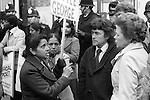 Grunwick Strike North London UK. Mrs Desai leader of the south Asian women strikers in discussion with two Labour MP's Ron Thomas and Jo Richardson. 1977
