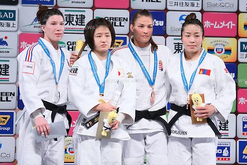 (L-R) Helene Receveauv (RUS), Tsukasa Yoshida (JPN), Hedvig Karakas (HUN), Sumiya Dorjsuren (MGL), DECEMBER 4, 2015 - Judo : IJF Grand Slam Tokyo 2015 International Judo Tournament Women's -57kg Award Ceremony at Tokyo Metropolitan Gymnasium, Tokyo, Japan. (Photo by Sho Tamura/AFLO SPORT)