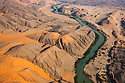 Namibia, Namib Desert, aerial view of Kunene River, border between Namibia and Angola