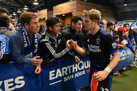 San Jose, CA - Saturday May 06, 2017: Florian Jungwirth, fans after a Major League Soccer (MLS) match between the San Jose Earthquakes and the Portland Timbers at Avaya Stadium.