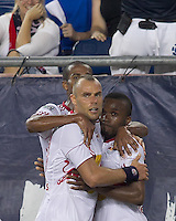 New York Red Bulls forward Dane Richards (19) celebrates his goal with teammates. In a Major League Soccer (MLS) match, the New England Revolution tied New York Red Bulls, 2-2, at Gillette Stadium on August 20, 2011.