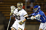 29 April 2016: Notre Dame's Drew Schantz (20) and Duke's Deemer Class (right). The University of Notre Dame Fighting Irish played the Duke University Blue Devils at Fifth Third Bank Stadium in Kennesaw, Georgia in a 2016 Atlantic Coast Conference Men's Lacrosse Tournament semifinal match. Duke won the game 10-9 in overtime.
