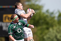31 May 2009: Hayden Smith of USA controls the ball away from Ireland defender during the Rugby game at Buck Shaw Stadium in Santa Clara, California.   Ireland defeated USA, 27-10.