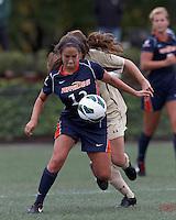 Pepperdine University defender Kristin DeGrandmont (12) bodies the ball forward. Pepperdine University defeated Boston College,1-0, at Soldiers Field Soccer Stadium, on September 29, 2012.