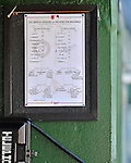 19 September 2012: The Washington Nationals Roster Sheet is posted in the dugout prior to a game against the Los Angeles Dodgers at Nationals Park in Washington, DC. The Nationals defeated the Dodgers 3-1 in the first game of their double-header. Mandatory Credit: Ed Wolfstein Photo