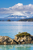 View of inactive volcano, Mount Edgecumbe on Kruzof island, southeast, Alaska.