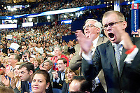 TAMPA, FL - August 29, 2012 - Michigan delegate Dennis Lennox cheers wildly during  Rep. Paul Ryan's remarks  at the 2012 Republican National Convention.
