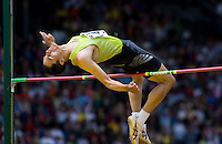 EUGENE, OR--Tora Harris wins the men's high jump with a height of 2.30m at the Steve Prefontaine Classic, Hayward Field, Eugene, OR. SUNDAY, JUNE 10, 2007. PHOTO © 2007 DON FERIA