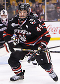 Dax Lauwers (NU - 44) - The Northeastern University Huskies defeated the Boston University Terriers 3-2 in the opening round of the 2013 Beanpot tournament on Monday, February 4, 2013, at TD Garden in Boston, Massachusetts.