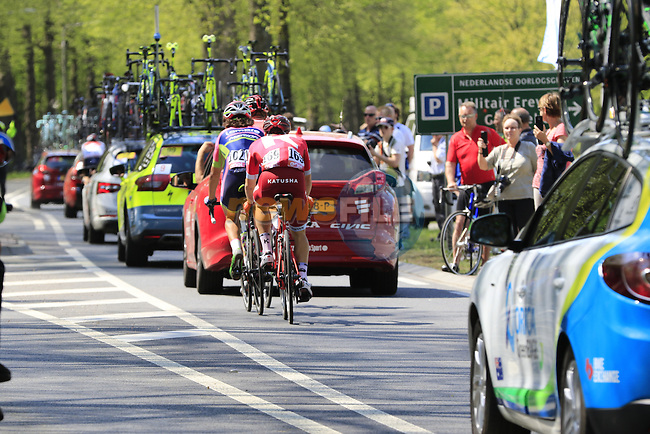 Roberto Ferrari (ITA) Lampre-Merida and Alexey Tcatevitch (RUS) Team Katusha pass Grebbeberg Military Cemetery on the route of Stage 2 of the 2016 Giro d'Italia running 190km from Arnhem to Nijmegen, The Nethrerlands. 7th May 2016.<br /> Picture: Eoin Clarke   Newsfile<br /> <br /> <br /> All photos usage must carry mandatory copyright credit (&copy; Newsfile   Eoin Clarke)