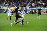 VOETBAL: HEERENVEEN: Abe Lenstra Stadion, 21-10-2012, SC Heerenveen - FC Groningen, Einduitslag 3-0, Alfreð Finnbogason (#11 | SCH) in duel met Johan Kappelhof (#2 | Groningen), ©foto Martin de Jong