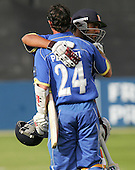 Mark Pettini celebrates his century for Essex with Ravi Bopara - Essex Eagles vs Middlesex Crusaders - Friends Provident Trophy at Ford County Ground, Chelmsford - 20/05/07 - MANDATORY CREDIT:  Gavin Ellis / TGSPHOTO - IMAGES USED WILL BE INVOICED AT STANDARD RATES