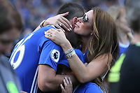 A hug from Toni Terry, wife of John Terry after his emotional speech on the pitch during Chelsea vs Sunderland AFC, Premier League Football at Stamford Bridge on 21st May 2017