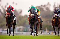 Utopian with Mike Smith finished second in the San Marcos Stakes at Santa Anita Park in Arcadia California on February 11, 2012.