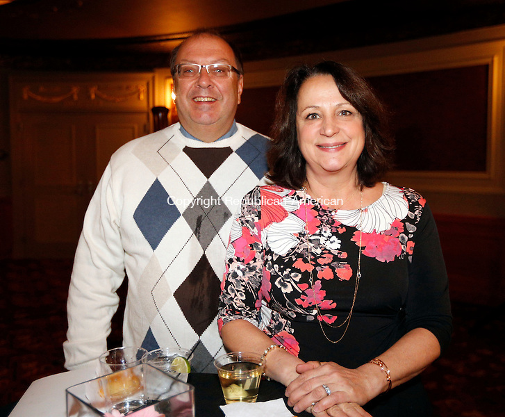 Waterbury, CT- 09 April 2015-040915CM17-  Social moments--- From left, Keith and Elaine Weston of Wolcott are photographed during Acts 4 Ministry's fundraising reception on Thursday, April 9, 2015 at the Palace Theater in Waterbury.  Christopher Massa Republican-American