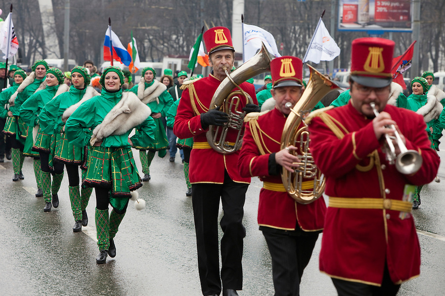 Moscow, Russia, 21/03/2010..Several thousand people attend the 19th annual Moscow St Patrick's Day parade.