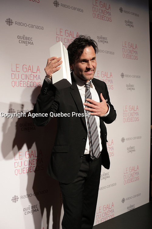 Martin Leon<br /> , winner best original music for GUIBORD S'EN VA T EN GUERRE<br /> at the Gala du cinema Quebecois, March 20, 2016<br /> <br /> Photo : Pierre Roussel - Agence Quebec Presse