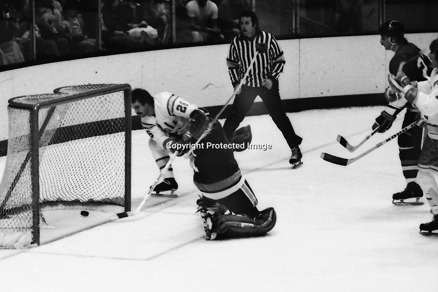 California Golden Seals vs New York Islanders, Seals #26 Bob Girard scores against Islander goalie Glenn Resch. (1975 Photo by Ron Riesterer)