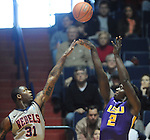 "LSU's Johnny O'Bryant III (2) shoots over Mississippi's Murphy Holloway (31) at the C.M. ""Tad"" Smith Coliseum in Oxford, Miss. on Saturday, February 25, 2012. (AP Photo/Oxford Eagle, Bruce Newman).."