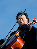Yo-Yo Ma prepares to play his cello during the Inauguration Ceremony for President Barack Obama on the West Front of the U.S. Capitol on Jan. 20, 2009.