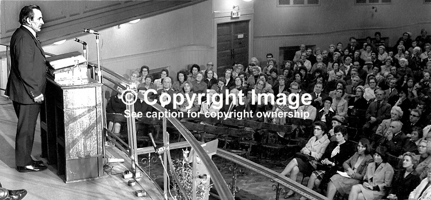 Peace Movement meeting in the Grosvenor Hall, Belfast, N Ireland, being addressed by Harry Murray, former prominent member, Ulster Workers' Council, 11th September 1974. Also on the platform with him were Canon Padraig Murphy, a Roman Catholic priest from West Belfast and representatives of the Bogside Peace Committee, Londonderry. 197409110488<br /> <br /> Copyright Image from Victor Patterson, 54 Dorchester Park, Belfast, UK, BT9 6RJ<br /> <br /> Tel: +44 28 9066 1296<br /> Mob: +44 7802 353836<br /> Voicemail +44 20 8816 7153<br /> Skype: victorpattersonbelfast<br /> Email: victor@victorpatterson.com<br /> Email: victorpatterson@me.com (back-up)<br /> <br /> IMPORTANT: If you wish to use this image or any other of my images please go to www.victorpatterson.com and click on the Terms &amp; Conditions. Then contact me by email or phone with the reference number(s) of the image(s) concerned.