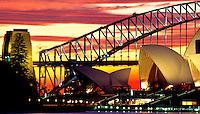 Sydney Opera House and Harbor Bridge at Sunset