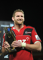 Crusaders captain Kieran Read with the inaugural NZ Super 15 conference trophy. Super 15 rugby match - Crusaders v Hurricanes at Westpac Stadium, Wellington, New Zealand on Saturday, 18 June 2011. Photo: Dave Lintott / lintottphoto.co.nz