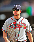 26 September 2010: Atlanta Braves infielder Chipper Jones (currently on the Disabled List) brings the game rosters to home plate prior to a game between the Washington Nationals and the Atlanta Braves at Nationals Park in Washington, DC. The Nationals defeated the pennant-seeking Braves 4-2 to take the rubber match of their 3-game series. Mandatory Credit: Ed Wolfstein Photo