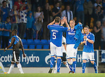 St Johnstone v Rosenborg....25.07.13  Europa League Qualifier<br /> Steven Anderson and Frazer Wright celebrate<br /> Picture by Graeme Hart.<br /> Copyright Perthshire Picture Agency<br /> Tel: 01738 623350  Mobile: 07990 594431
