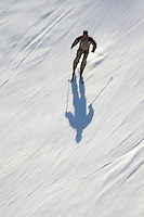 Skier speeding on snow (blurred motion), French Alps, France