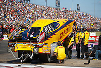 Oct 16, 2016; Ennis, TX, USA; NHRA funny car driver Del Worsham during the Fall Nationals at Texas Motorplex. Mandatory Credit: Mark J. Rebilas-USA TODAY Sports