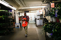 New York, USA. 19 August 2014. A home depot worker is seen on a store while Home Depot company prepares its Quarterly results at the Stock Exchange in New York.  Eduardo Muñoz Alvarez/VIEWpress