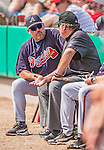 11 March 2013: Atlanta Braves manager Fredi Gonzalez chats with umpire Hunter Wendelstedt between innings of a Spring Training game against the Washington Nationals at Space Coast Stadium in Viera, Florida. The Braves defeated the Nationals 7-2 in Grapefruit League play. Mandatory Credit: Ed Wolfstein Photo *** RAW (NEF) Image File Available ***